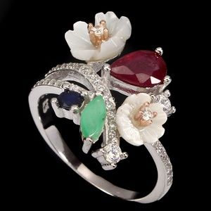 .925  Ruby/Emerald/Sapphire SZ 7 RING